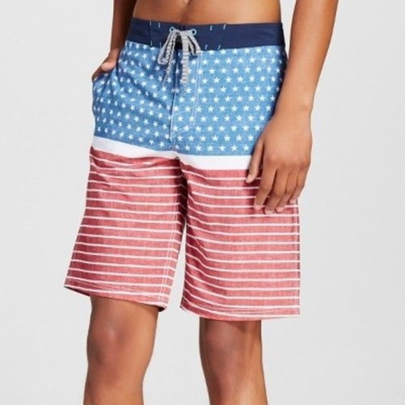 4e1856bb63 Mossimo Supply Co. Swim | Mossimo Mens Usa Flag Patriotic Trunks ...